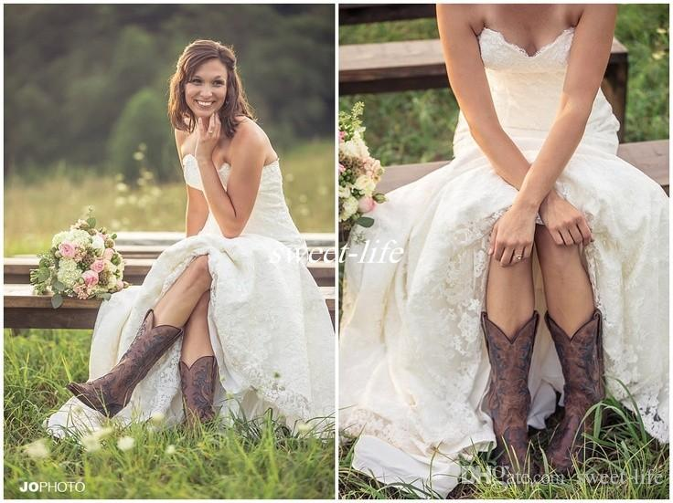 Country style lace wedding dresses sweetheart low back for Country style lace wedding dress