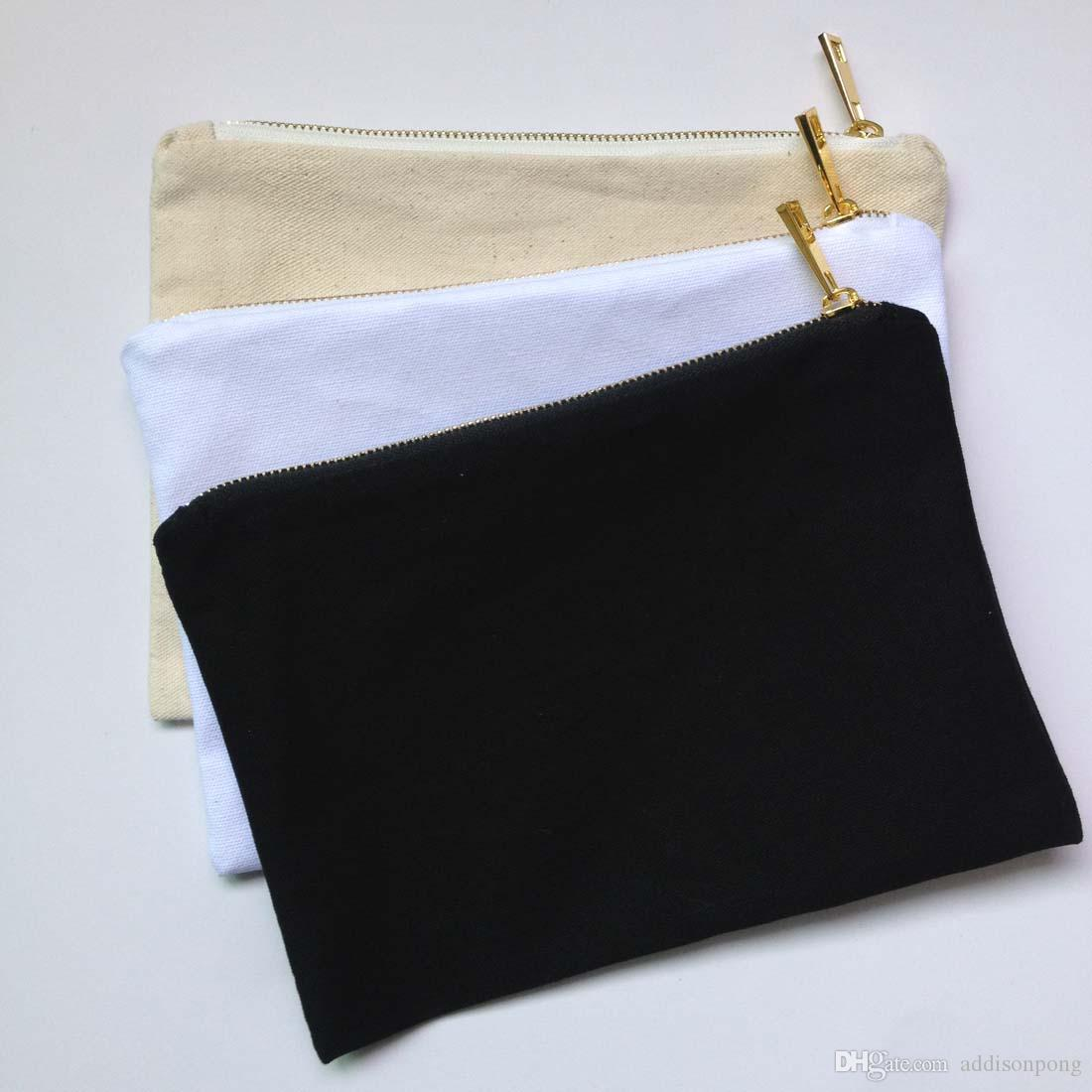 Plain Natural Cotton Canvas Make Up Bag with Matching Color Lining ...