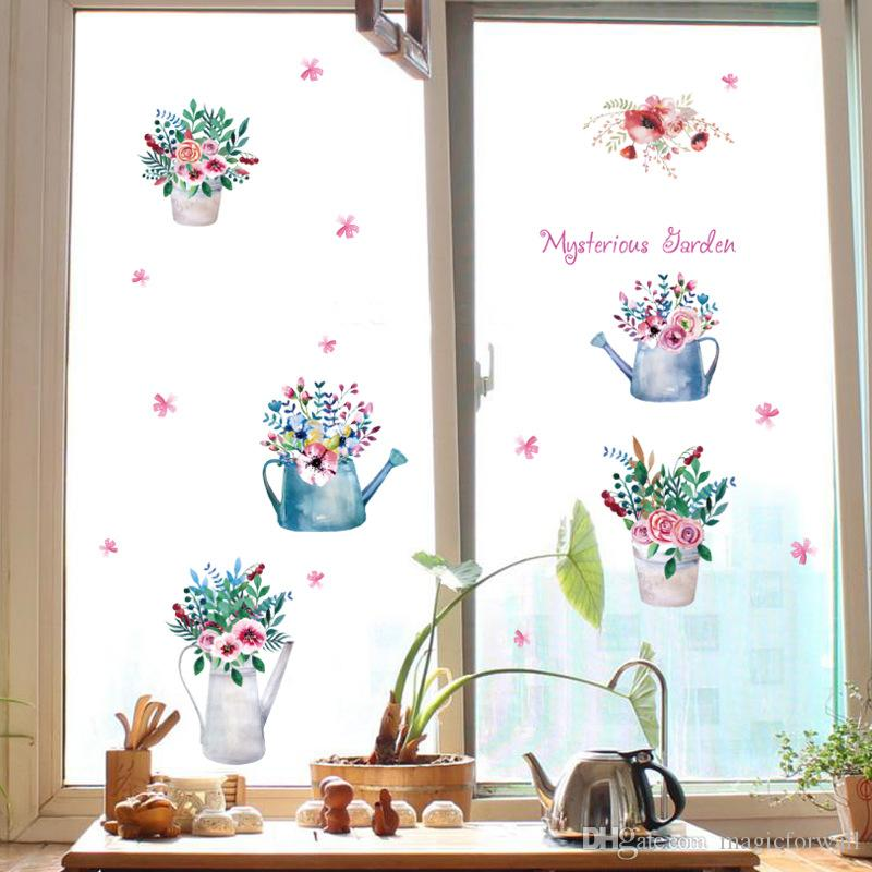 Potted flowers colorful bonsai wall stickers cabinet for Colorful kitchen wall art