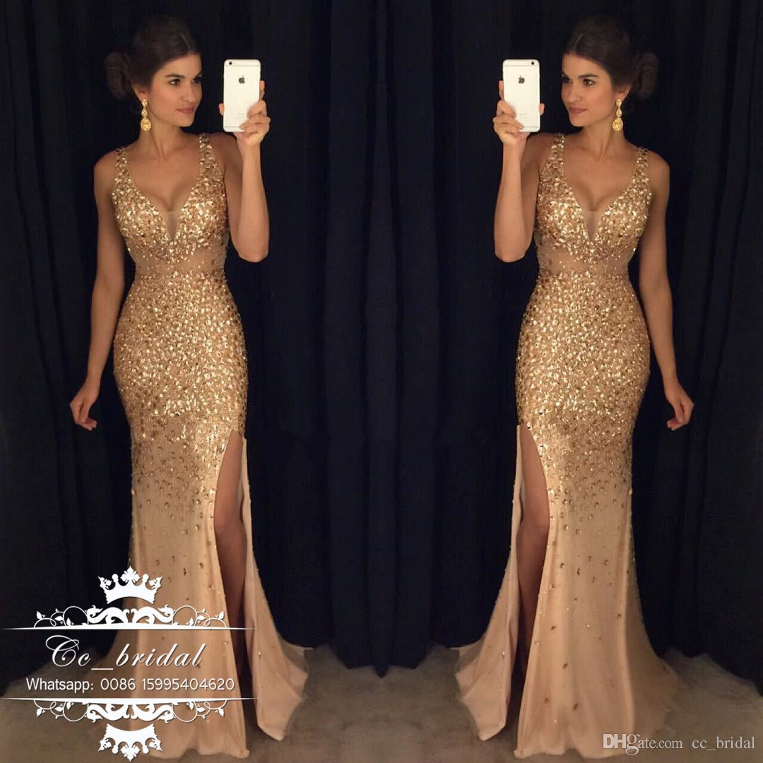 Sheer V Neck Gold Mermaid Prom Dresses 2017 Sexy Backless African ...