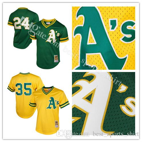 Oakland Athletics Rickey Henderson Mitchell Ness Green Yellow 1991 Cooperstown M