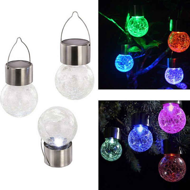 / LED Color Changing Solar Hanging Light Crackle Glass Globe Lights  Christmas Decor Lighting For Garden Fence Garden Light Solar  Buitenverlichting Led Solar ...