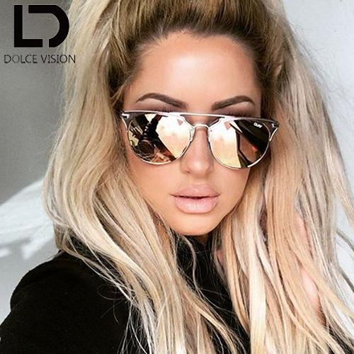 ladies aviator sunglasses  Wholesale Ladies Round Aviator Sunglasses Women Pink Mirror 2017 ...