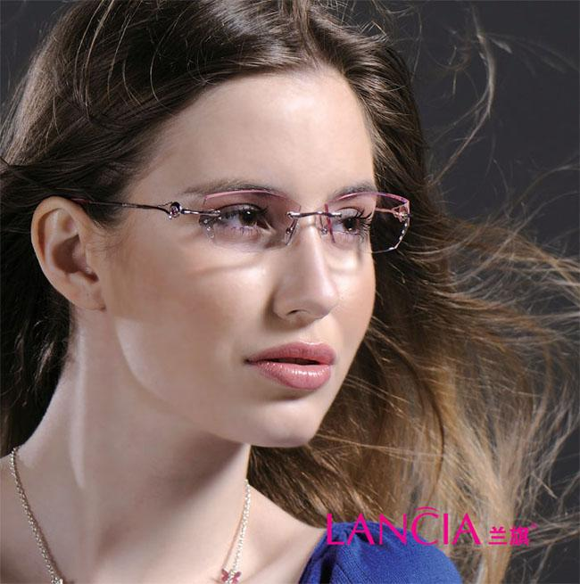 Eyeglass Frames Look Younger : 2017 Wholesale 8007 WomanS Rimless Crystal Optical ...