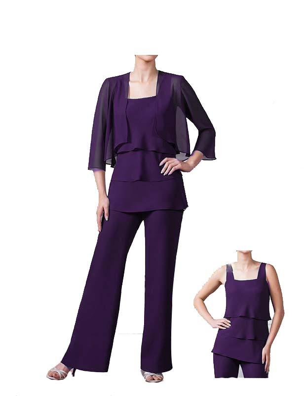 New Cheap Elegant Chiffon Motheru0026#39;S Pants Suit With Jacket Square Neckline 3/4 Sleeve Formal ...