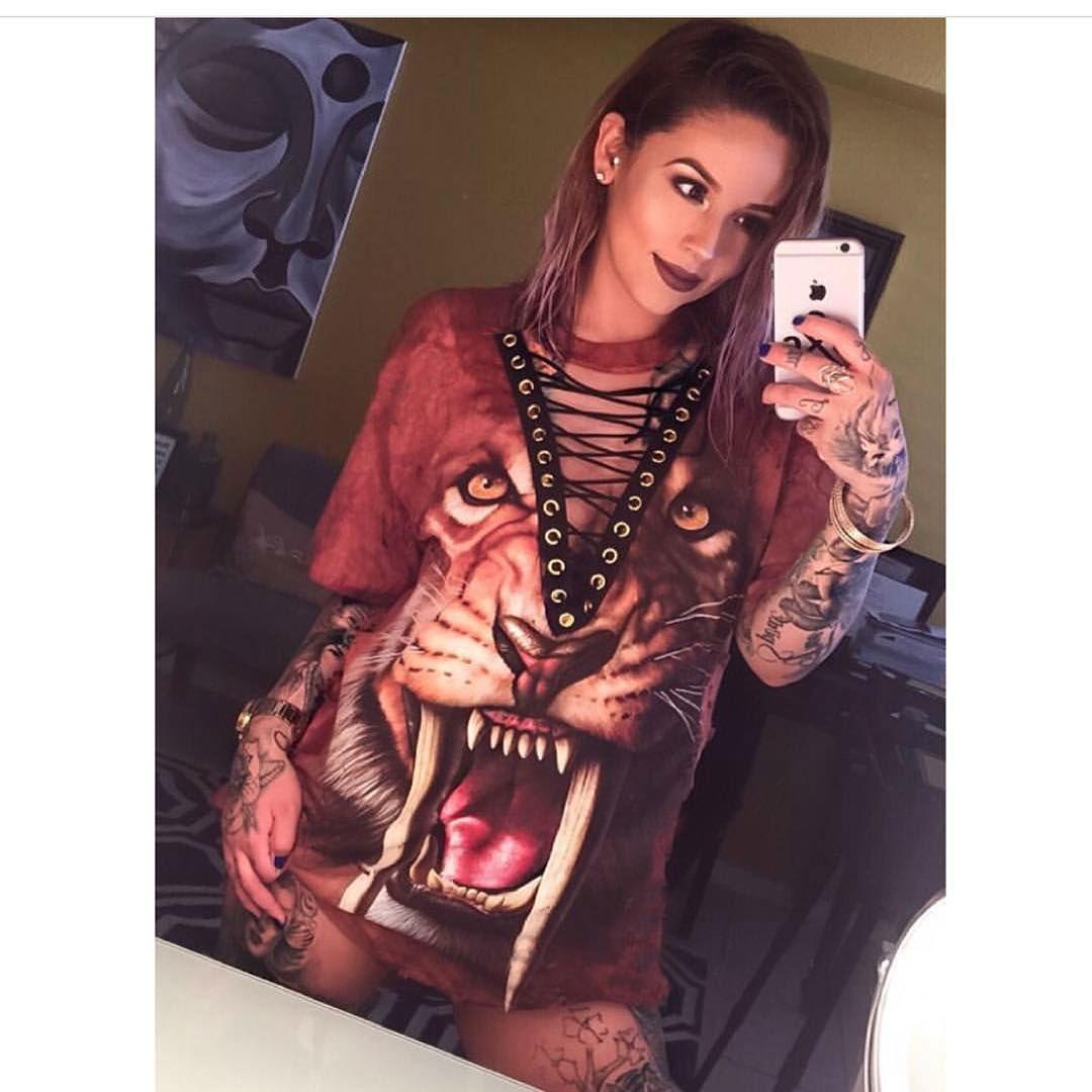 Shirt design 2017 female - Fashion Punk Rock Design T Shirt 2017 Summer Hot Animal Print Halloween Lace Up Women Long