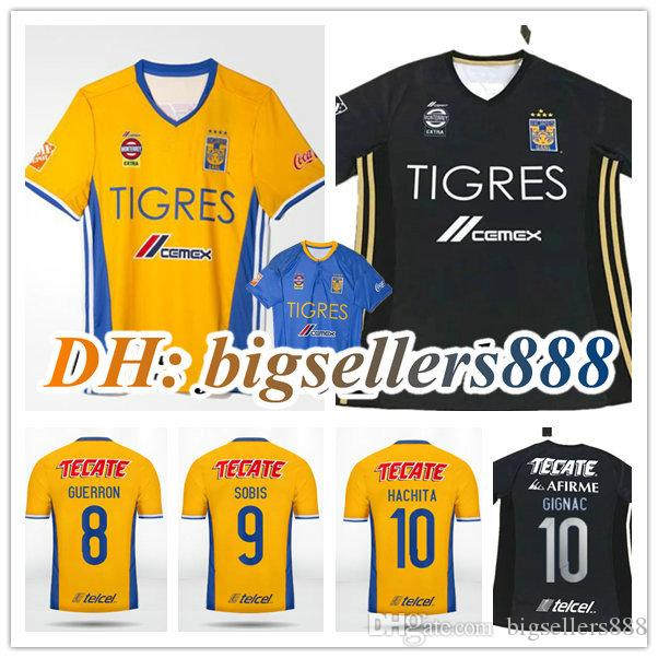 Top qualité thaï 17 18 Mexique club de football Tigres UANL Tigers Jaune maison