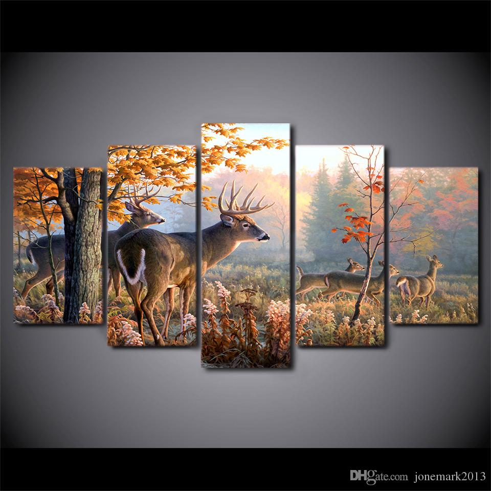 2017 framed hd printed canvas painting deer forest wall for Decoration murale one piece