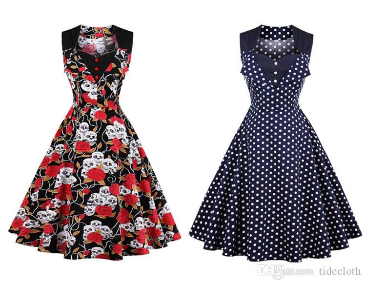 Women Vintage Polka Dot Floral Dress Audrey Hepburn Pin Up Party ...