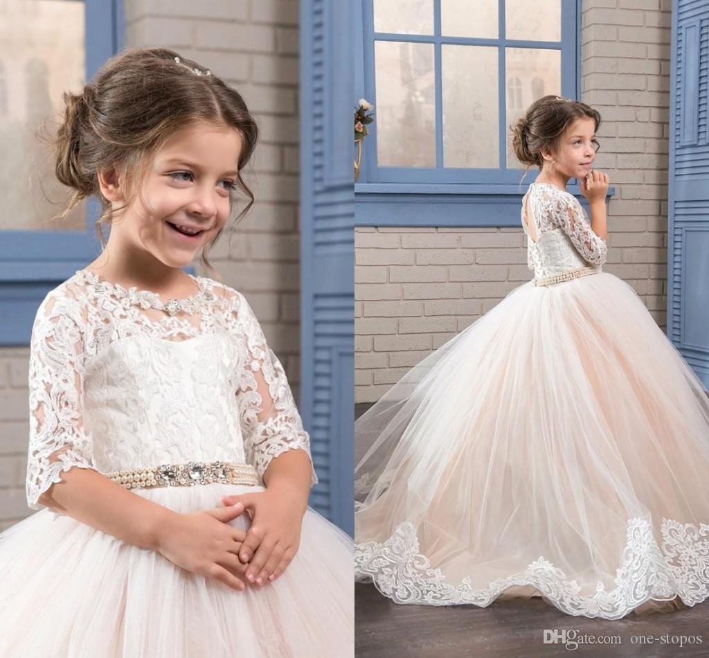 2017 Champagne Ball Gowns Flower Girl Dresses Tulle Floor Length Lace Jewel N