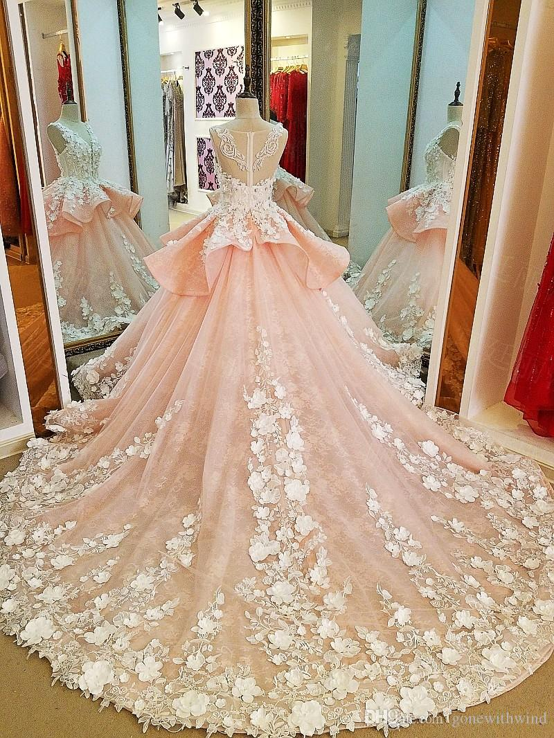 Blush Royal Train Arab Dubai Wedding Dresses 2017 Lace