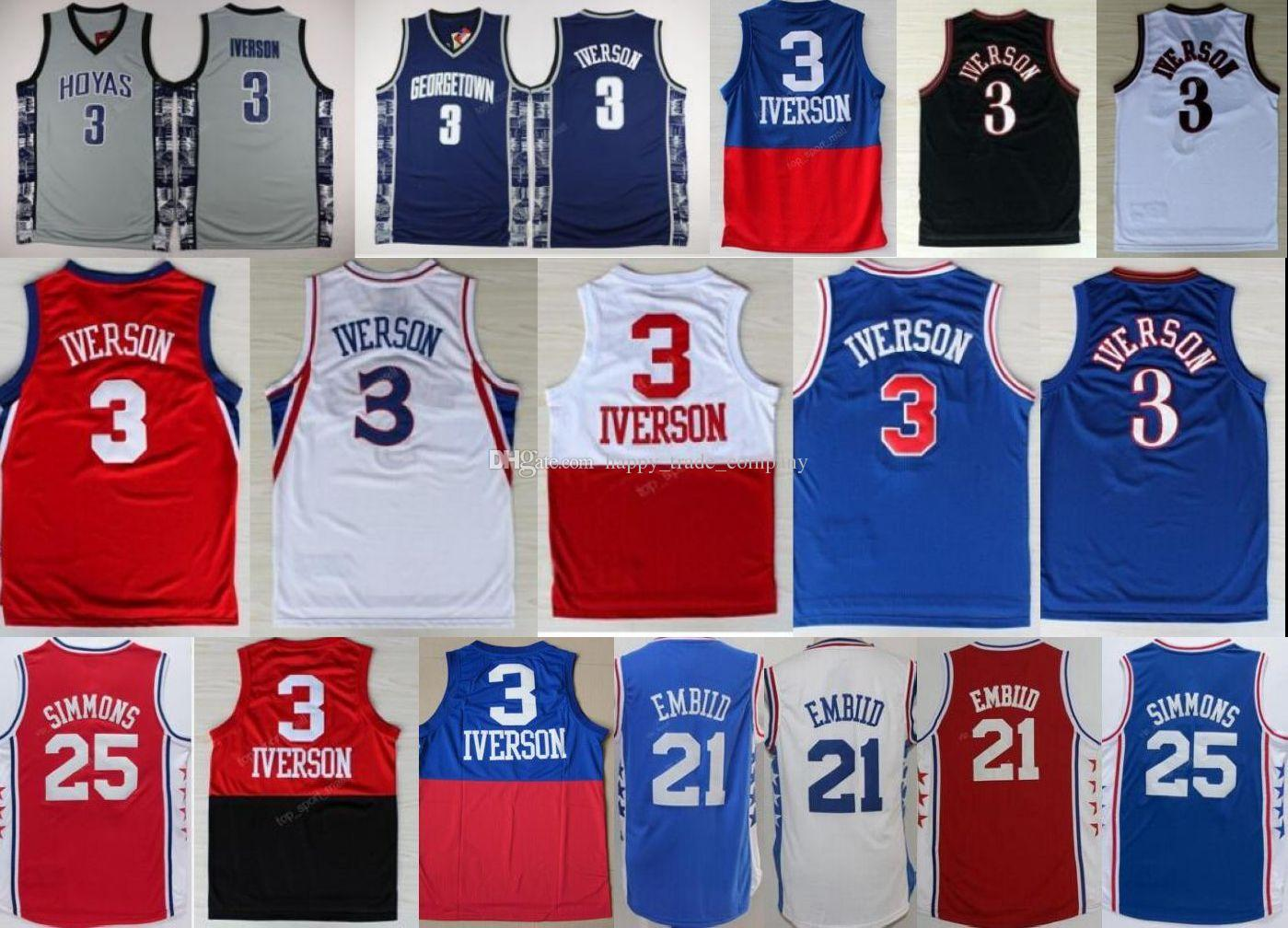 Best-Selling 3 Allen Iverson Jersey Georgetown Hoyas College Throwback 25 Ben Si