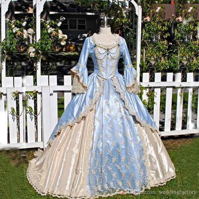 Vintage Ball Gown Victorian Dress Medieval Gothid Bridal Gown Champagne Light Sky Blue Long Bell
