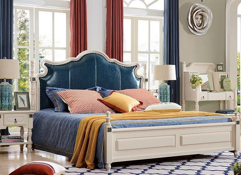 Blue Color Solid Wood American Design Antique Bedroom Furniture