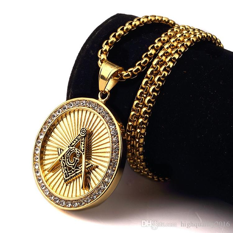 Wholesale free mason masonic hip hop hop necklace pendant for Does gold plated jewelry fade