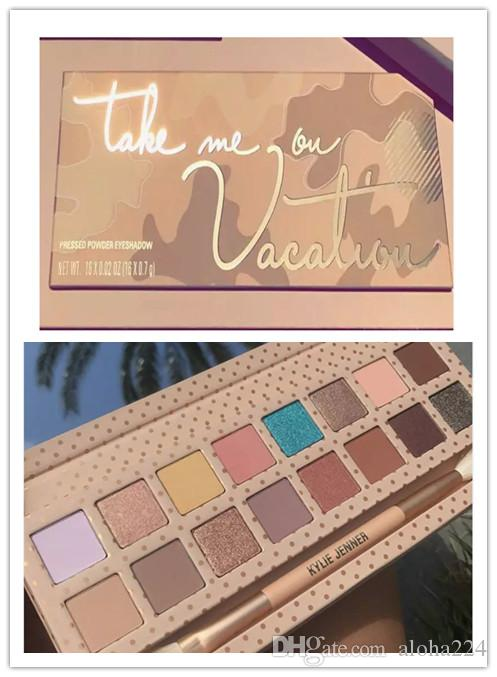 New Makeup Kylie Jenner Eyeshadow Palette With Brush Take Me On Vacation Pressed Powder