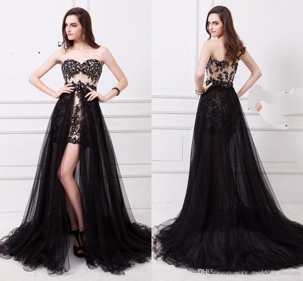 2017 Black Pom Dress Fashion Party Prom Dresses Evening