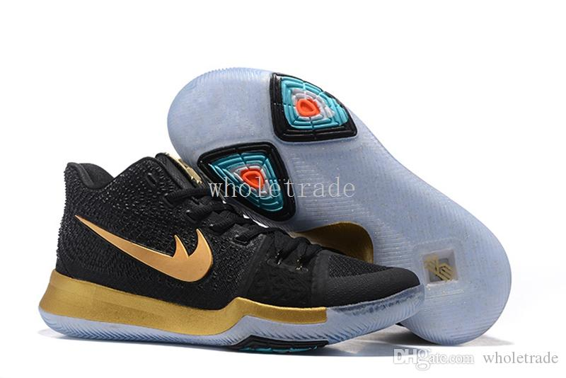 with Box Mens Kyries 3 Basketball Shoes Kyrie Irving Shoes III 3s Black  Gold BLue Kids Kyrie Irving Shoes for Sale Size 7-12 Kyries Kyrie 3 Kyrie  Irving ...