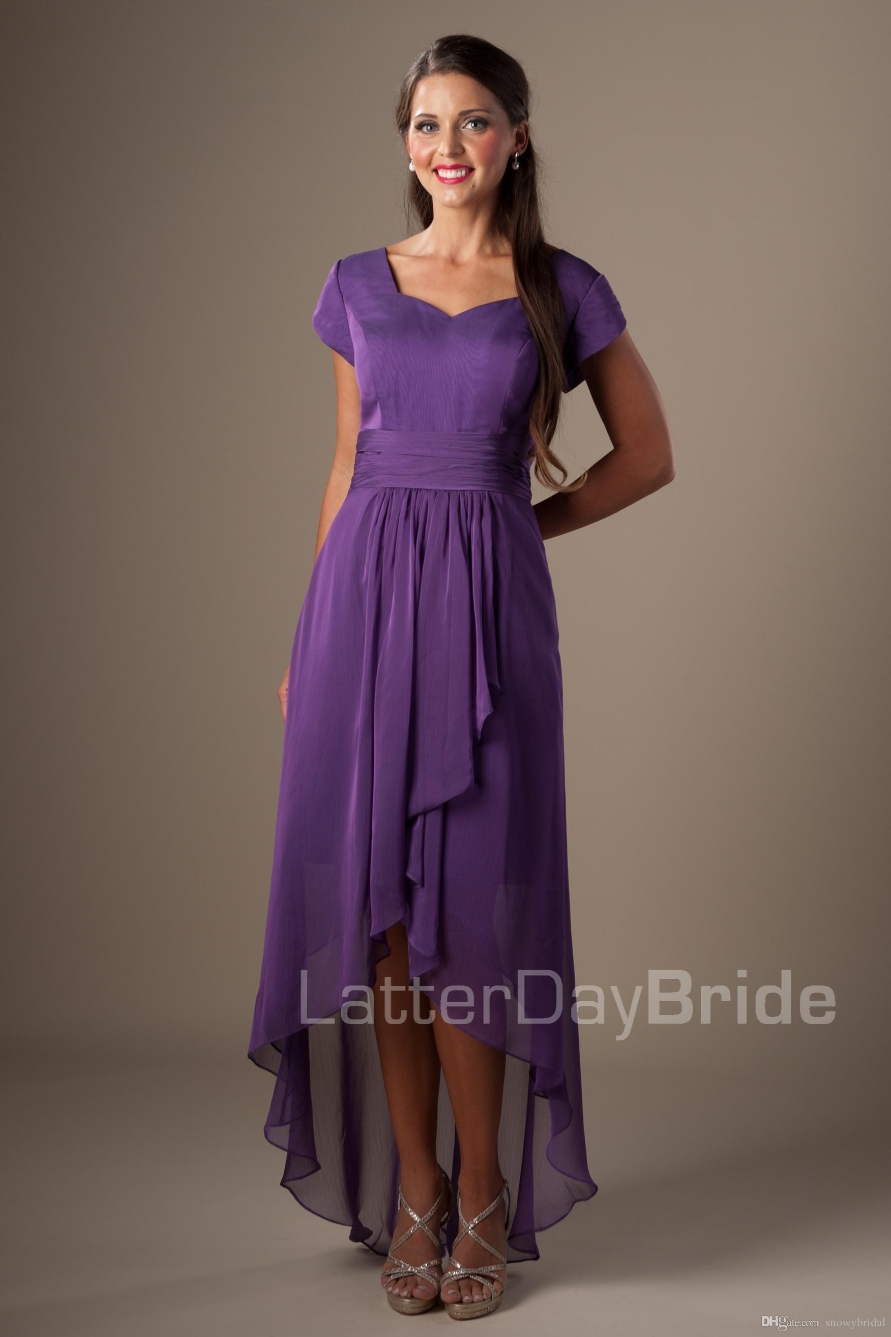 Purple high low country chiffon modest bridesmaid dresses short purple high low country chiffon modest bridesmaid dresses short sleeves short front long back wedding guests dresses bridesmaid robes dress modest ombrellifo Choice Image