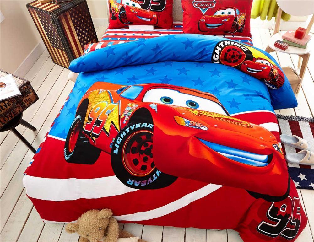 Lightning Mcqueen Cars Bedding Set Cotton Bedclothes Cartoon Printed Bed Covers Boys Home Decor