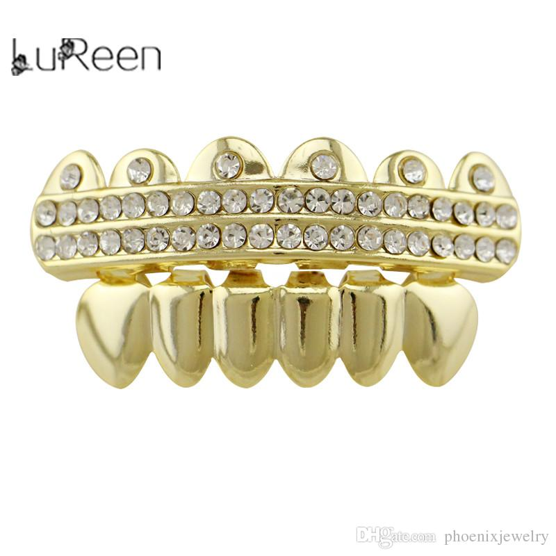 Lureen Promotion Bling 2 Row Rhinestone Grillz pour hommes Femme Fashion Hip Hop