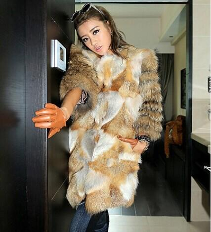 New Genuine Red Fox Fur Coat with Raccoon Fur Sleeve Winter Thick ...