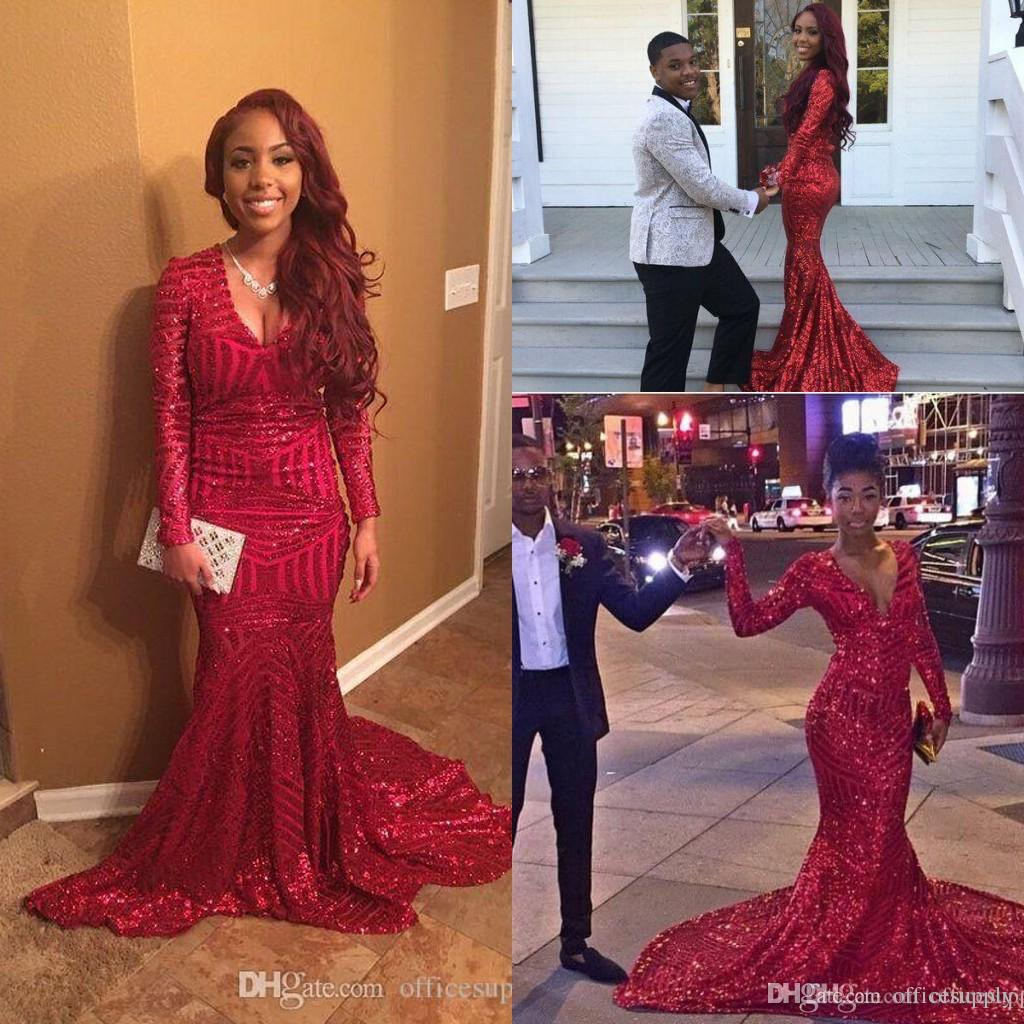 Sexy Bling Red Sequined Mermaid Prom Dresses 2017 African