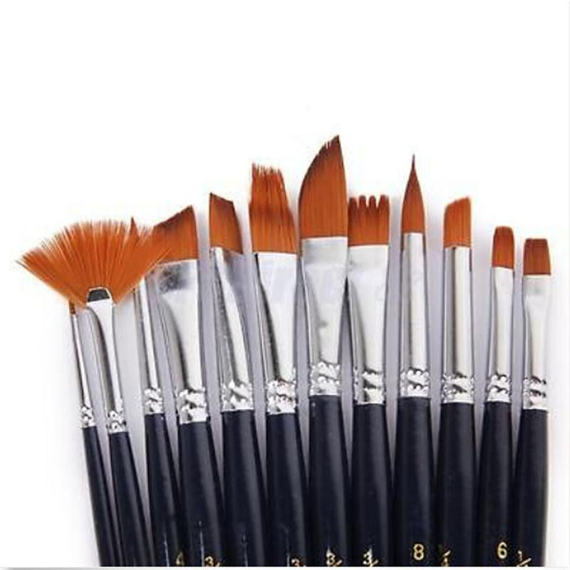 wholesale new 12 artist paint brushes set acrylic oil