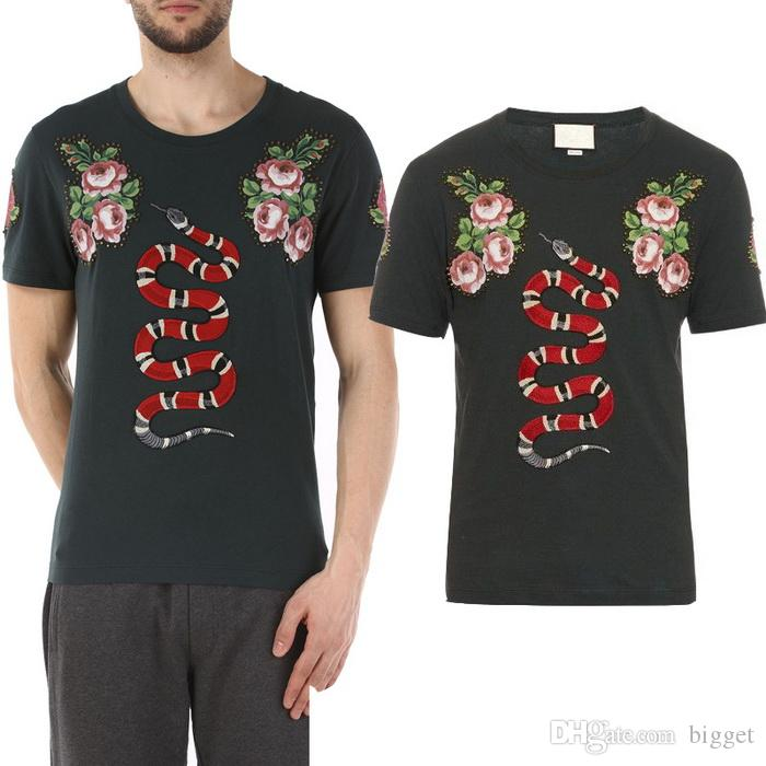 Crystal embroidery printed floral snake t shirt men 39 s 2017 for Name brand t shirts on sale