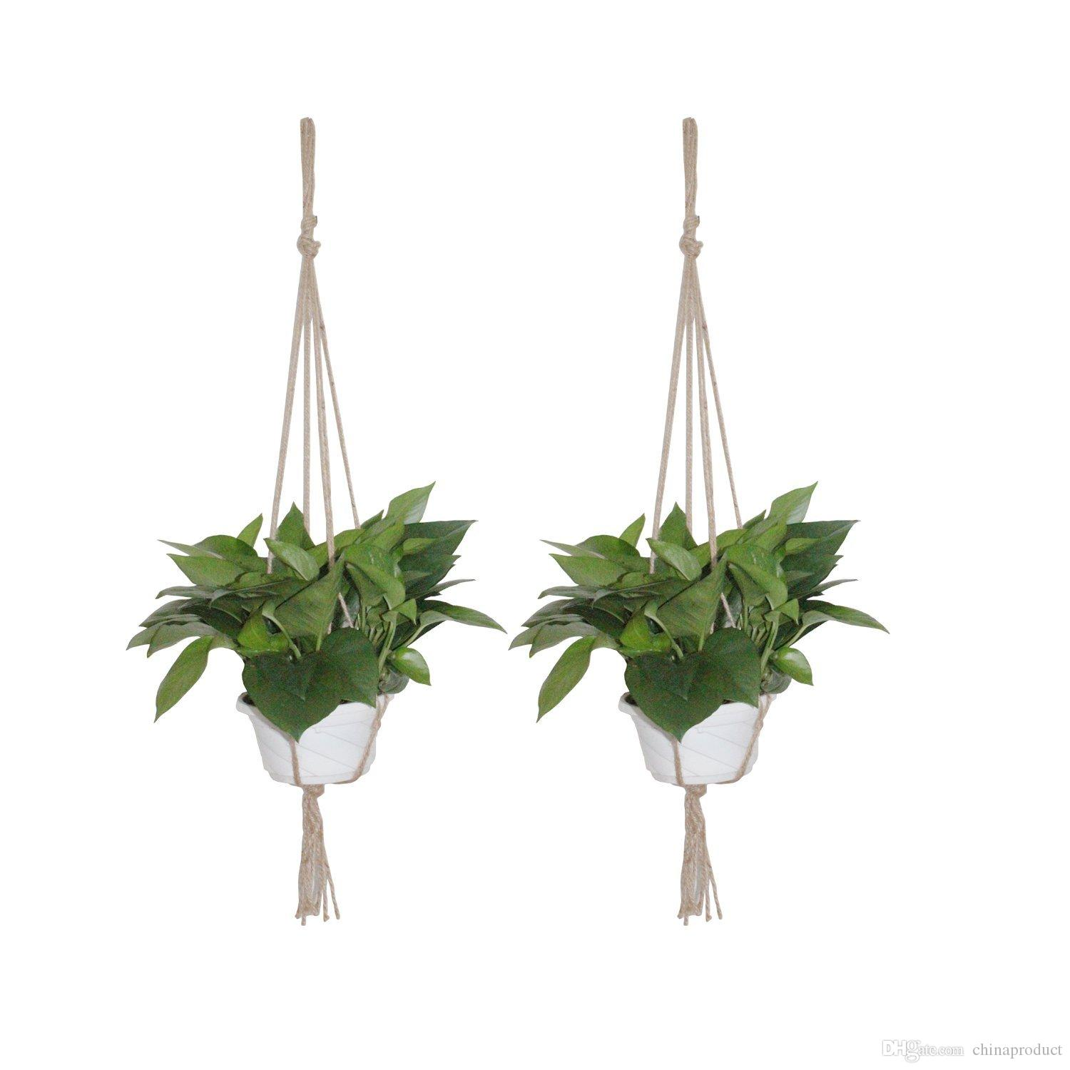 2017 2 pack plant hanger macrame jute 4 leg without hoop for ...