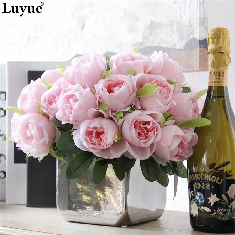 2017 wholesale luyue artificial rose real touch fake silk flowers bridal bouquet for wedding. Black Bedroom Furniture Sets. Home Design Ideas