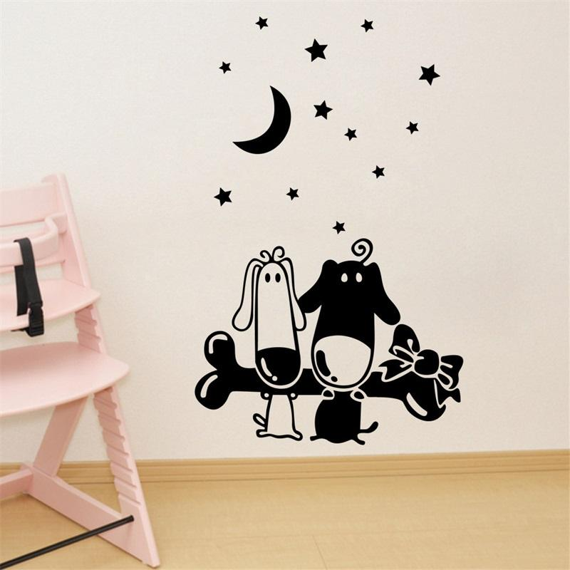 67x42cm cartoon dog bone moon star design wall sticker removable art mural decal for home decoration - Design Wall Decal