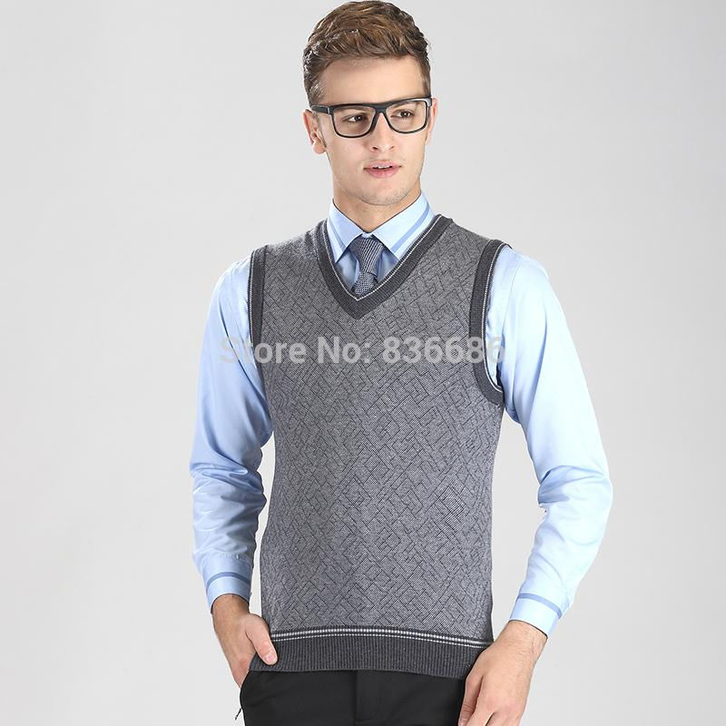 Wholesale- High Quality Autumn Casual Men Cashmere Sweater Vest ...