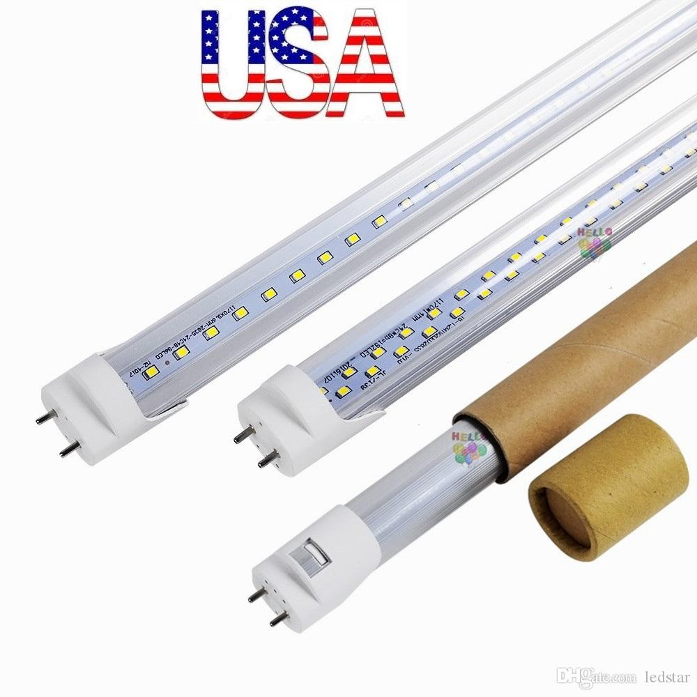 Stock dans US + bi pin 4ft conduit tubes t8 Light 18W 22W 28W Double Rows T8 Rem