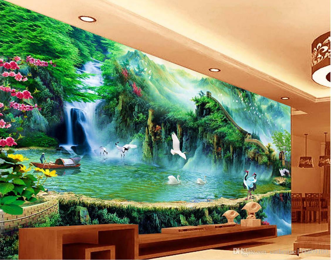 chinese wind fairyland great wall tv wall mural 3d wallpaper 3d