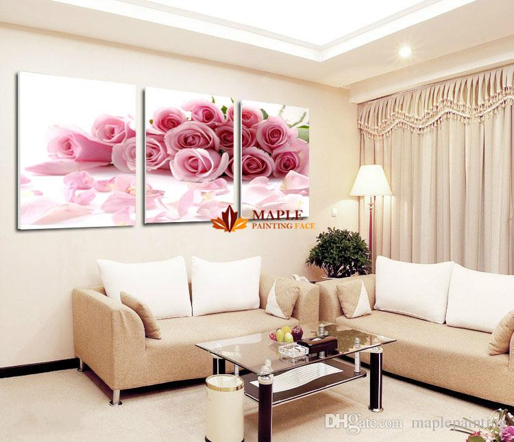 Pink rose home decorative canvas painting living room for Paint living room online