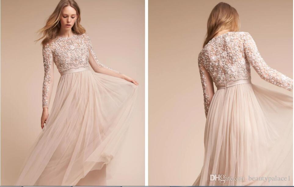 Modest Long Sleeves Bohemian Wedding Dresses Vintage High