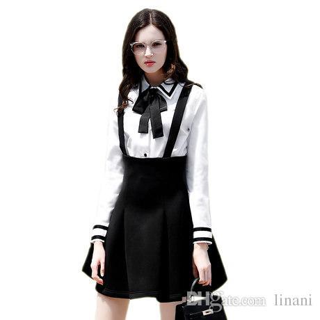 Korean Underwear Blouse Bow Tie Shirt Slim Fit Womens White Cotton ...