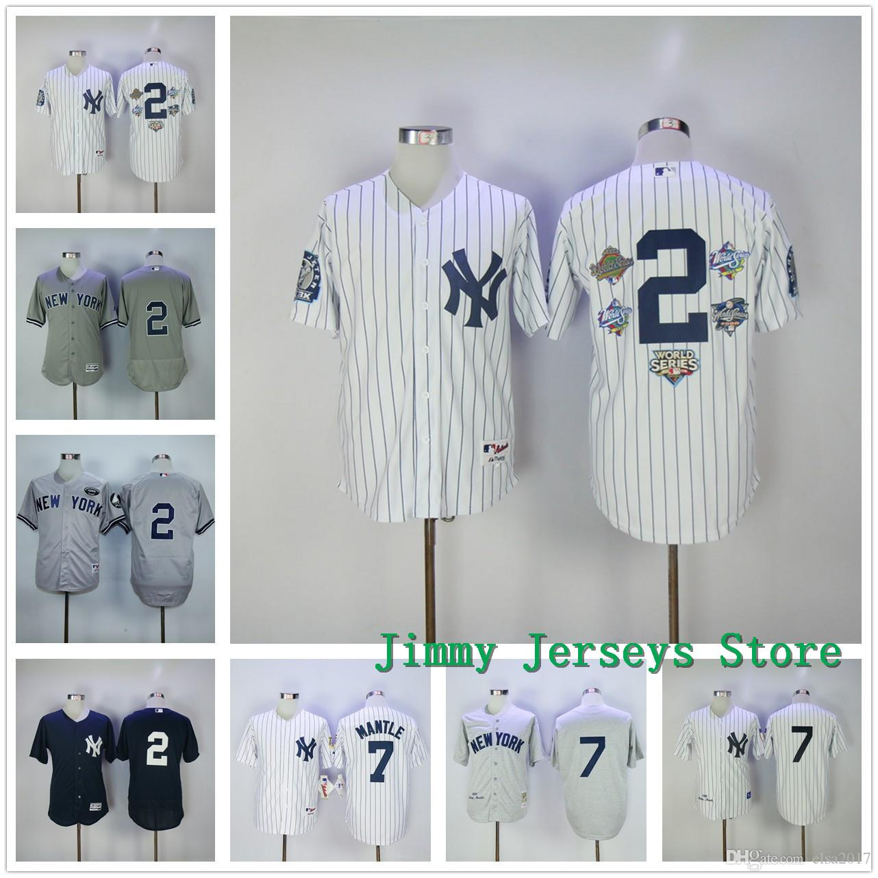 New York Yankees Baseball Jerseys 2 # Derek Jeter Jersey avec Captain Patch 7 #