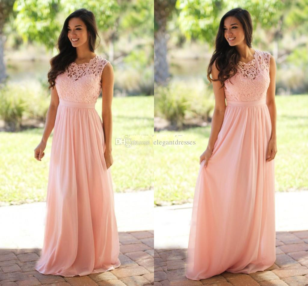 Pink Lace Chiffon Long Bridesmaid Dresses 2017 Cheap Plus