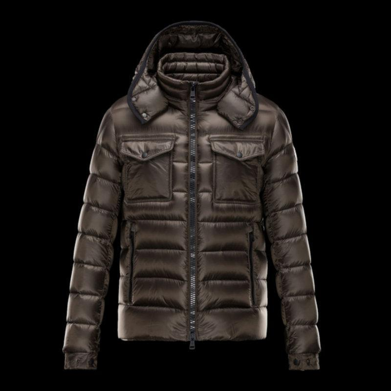 Brown Winter Jacket Stylish Men Down Jacket Chest Pocket Loops ...