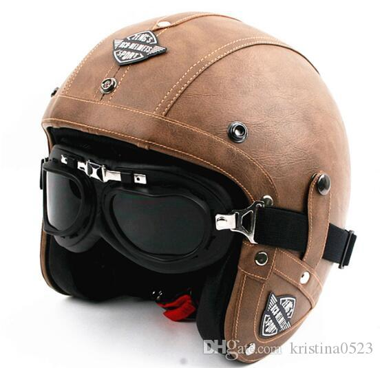Motorcycle Helmets Dot >> Hot Sell Men Vintage Leather Motorcycle Helmet Open Face Retro Pilot Cruiser Helmets Motocicleta ...