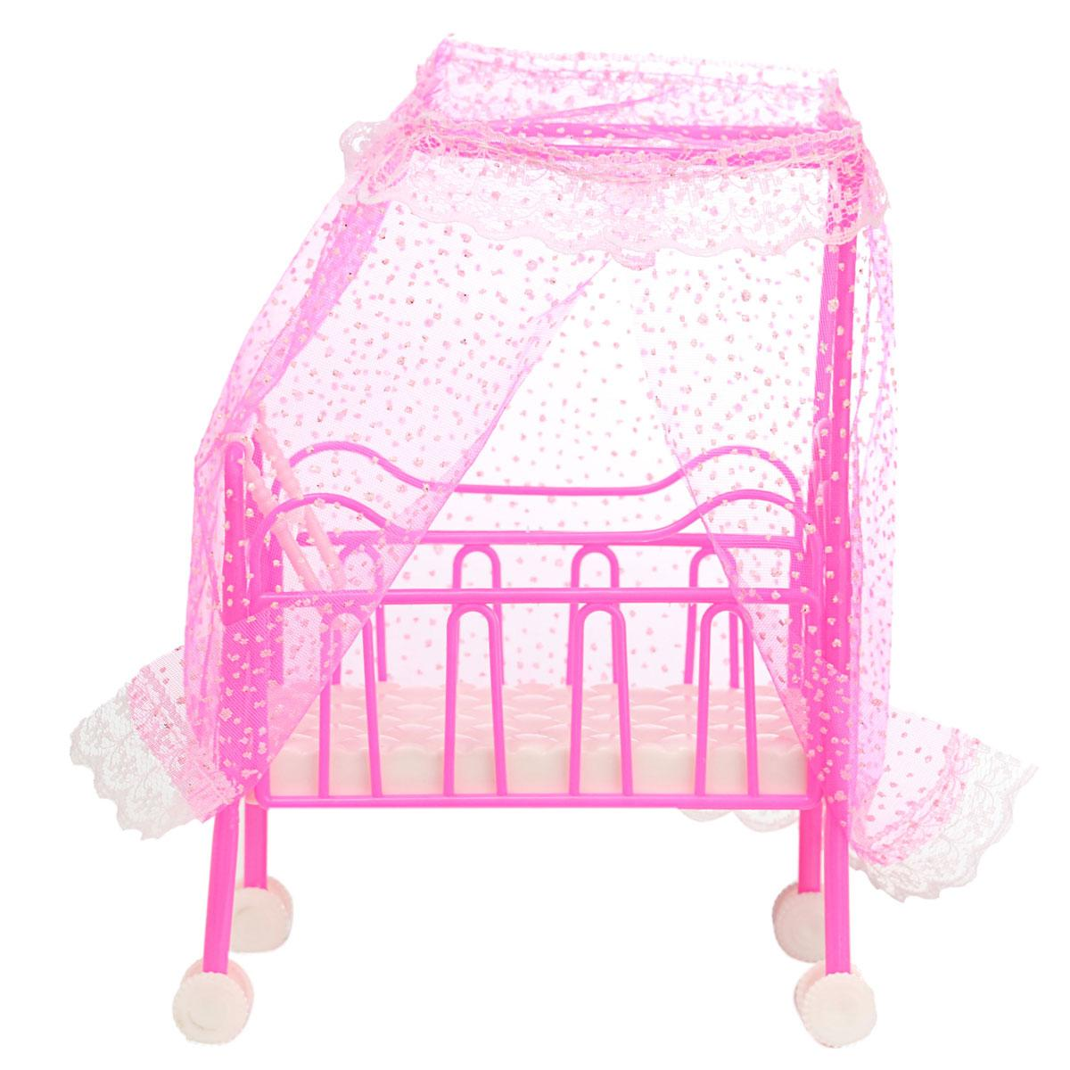 Baby bed accessories - Cute Doll Baby Bed For Princess Dollhouse Plastic Mini Cute Bed Doll House Furniture Toy Fantasy
