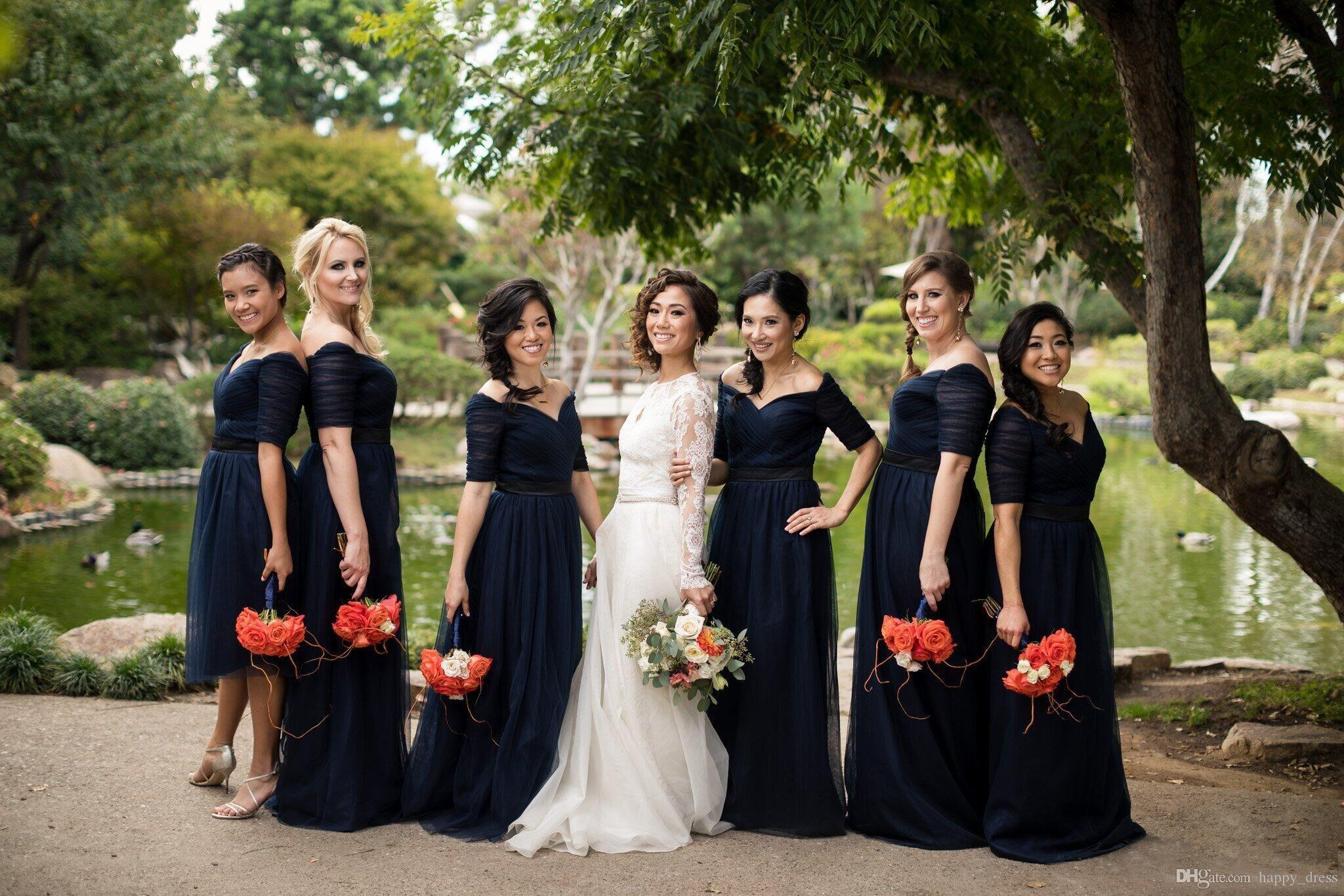 Navy blue tulle bridesmaid dresses with short sleeves off shoulder navy blue tulle bridesmaid dresses with short sleeves off shoulder a line long 2017 new custom made mother of the bride dress evening gowns navy blue ombrellifo Gallery
