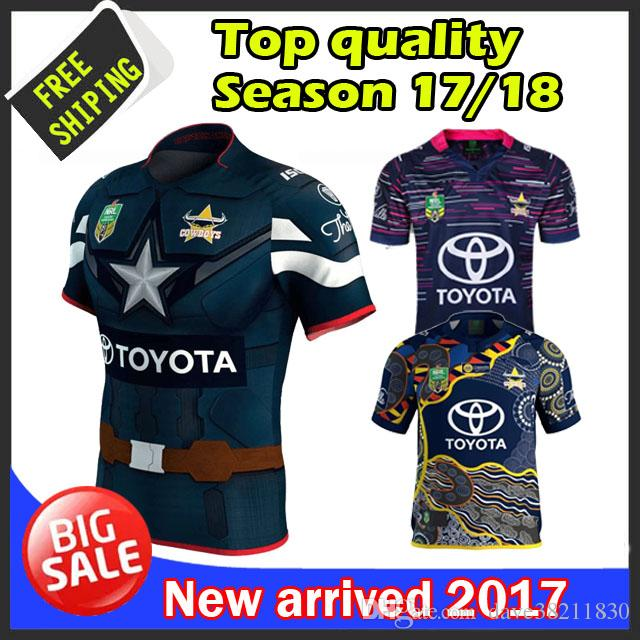 En stock Top 2017 Queensland Cowboys rugby jersey à la maison et loin Cowboys NR