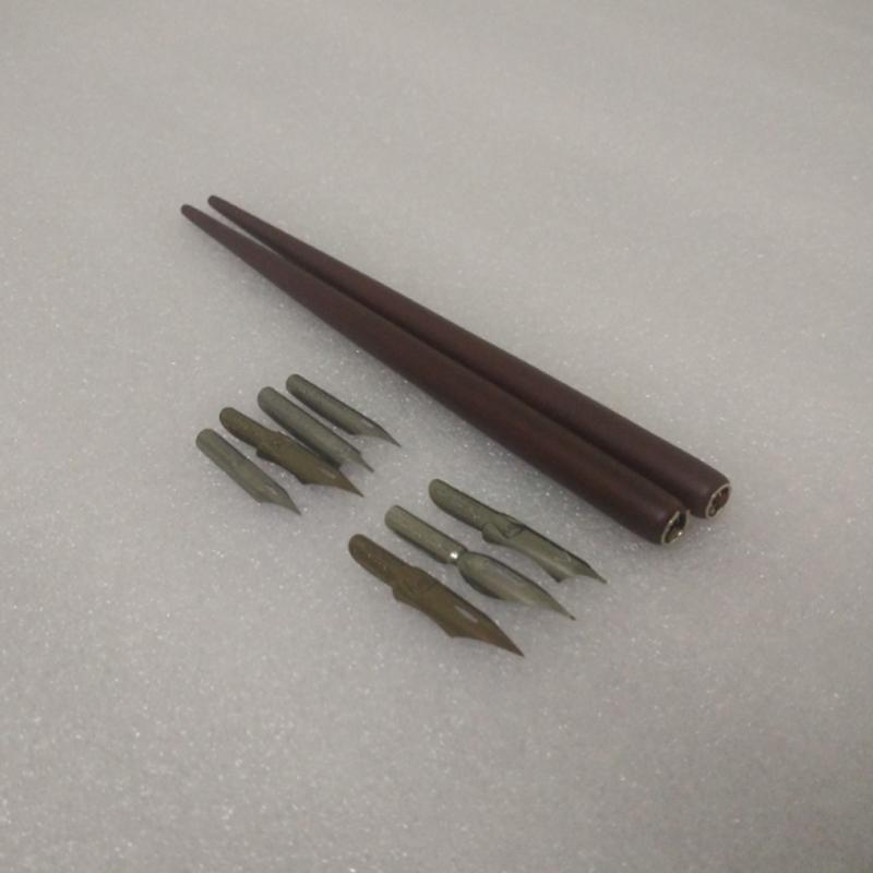 2017 Wholesale Antique Wooden Gothic Dip Pen Set With 2