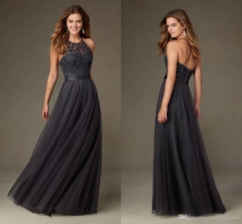 2017 Charcoal Gray Bridesmaid Dresses Long Halter Sleeveless A Line Appliques Lace Tulle Junior ...