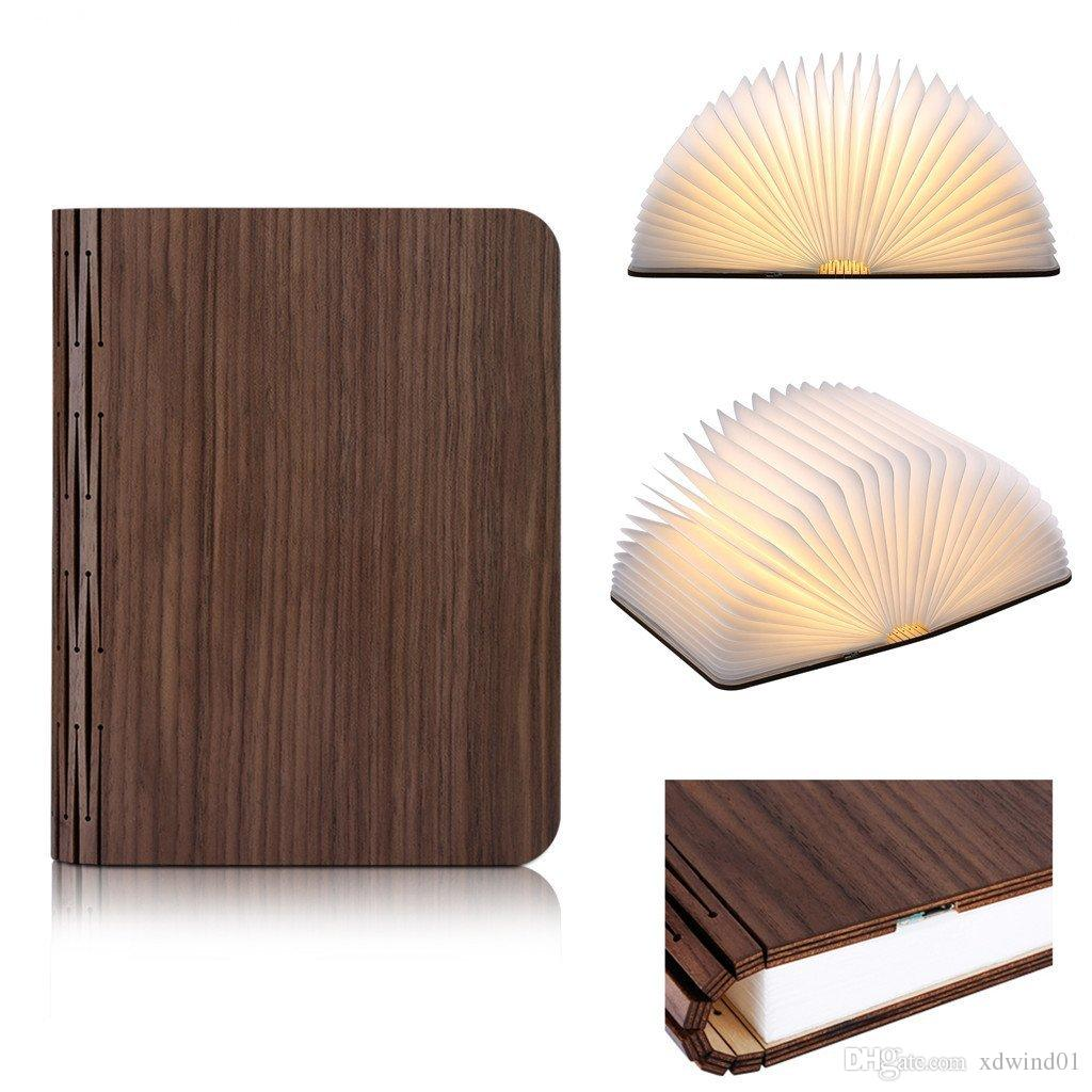 Unique Gift Idea Lumio Style LED Wooden Folding Book Lamp Desk/Table/Wall  Decor Night Light Rechargeable Lithium Ion Battery Wood Cover Lumio Style  Night ...
