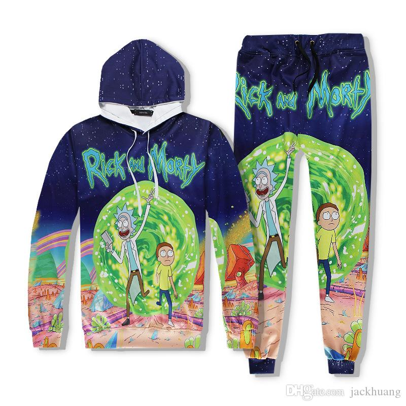 Rick And Morty Impression de motifs Joggers Tracksuit Pantalon unisexe + Hoodie