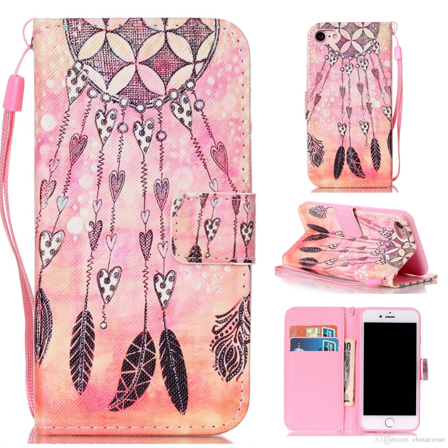 Feather Dream Catcher Design Pu Leather Flip Stand Wallet Card Slots Wrist Rope Pouch Cover Case Apple iPhone 7 iPhone7 4.7 Inch
